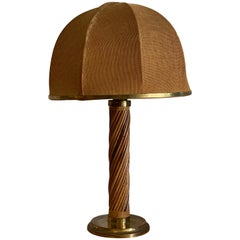 Italian, Modernist Table Lamp, Brass, Bamboo, Fabric, Italy, 1960s