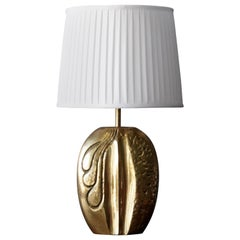 Italian, Modernist Table Lamp, Gold-Plated Brass, Fabric, Italy, 1960s