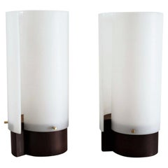 Italian Modernist Teakwood Table Lamps with Methacrylic Curved Shades, 1950s