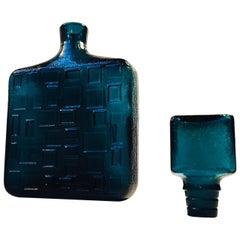 Italian Modernist Teal Blue Geometric Decanter by Empoli