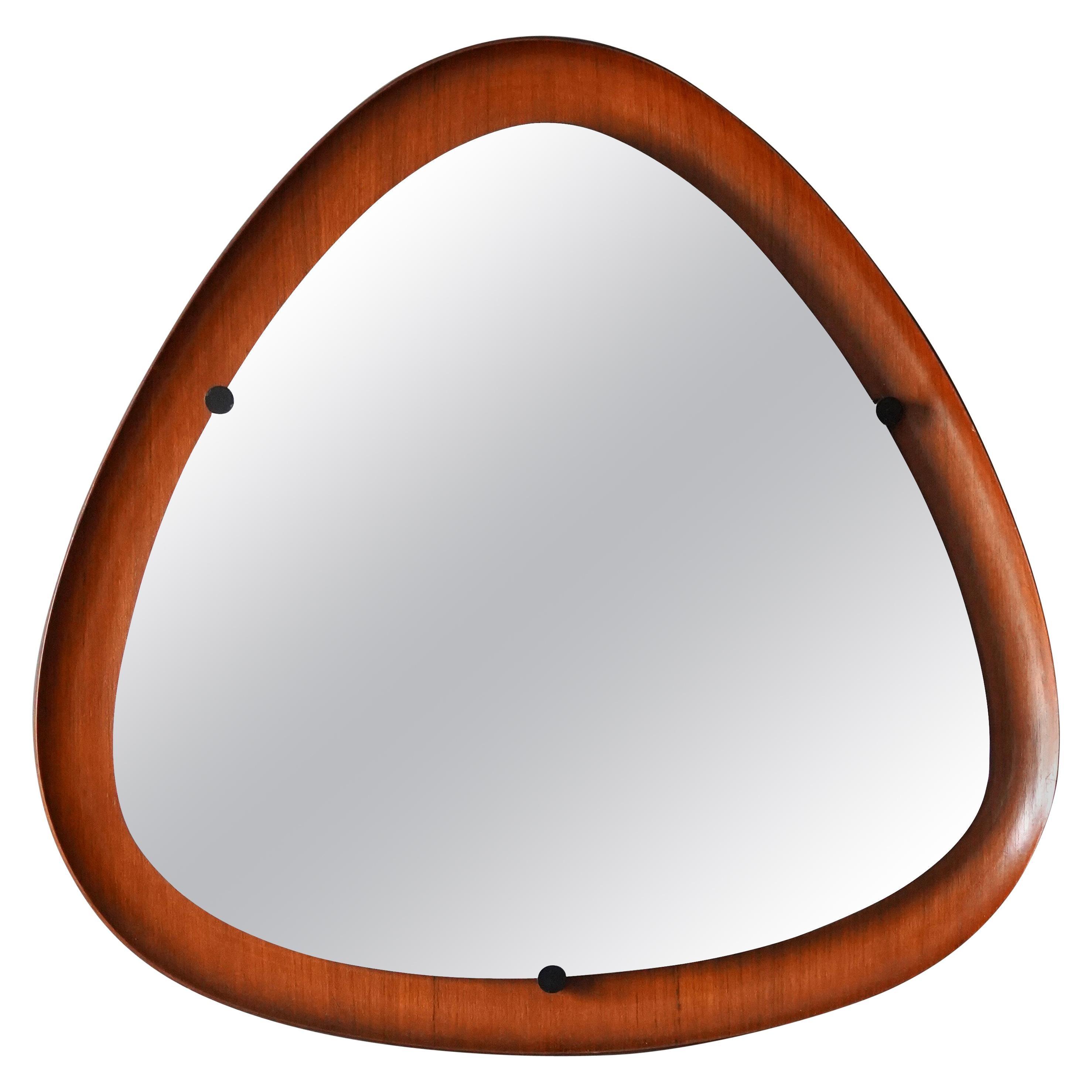 Italian, Modernist Wall Mirror, Mirror Glass, Metal, Teak, Italy, 1950s