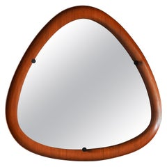 Italian, Modernist Wall Mirror, Mirror Glass, Metal, Teak, Italy, 1950s