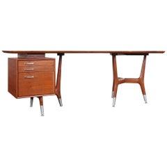"Italian Modernist Walnut ""Boomerang"" Desk"