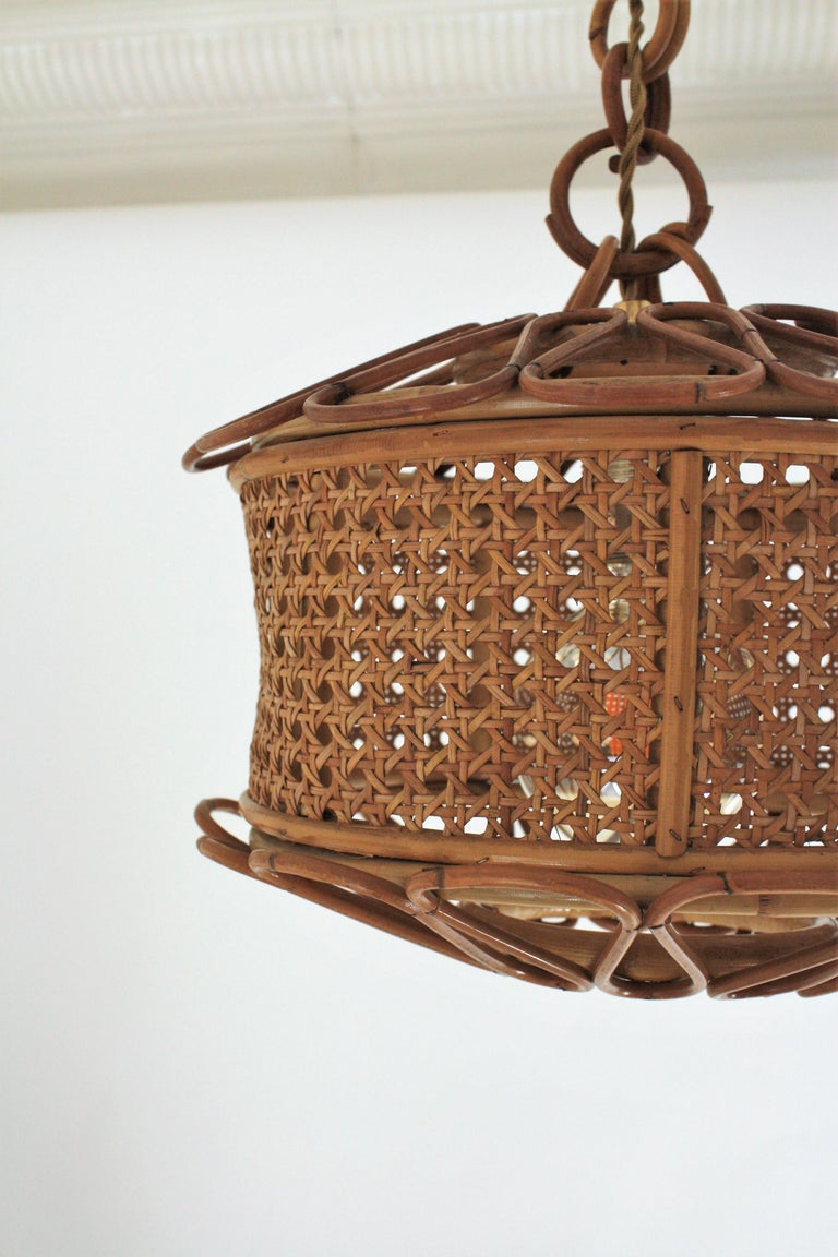 Italian Modernist Wicker Wire and Rattan Pendant Hanging Light, 1950s For Sale 8