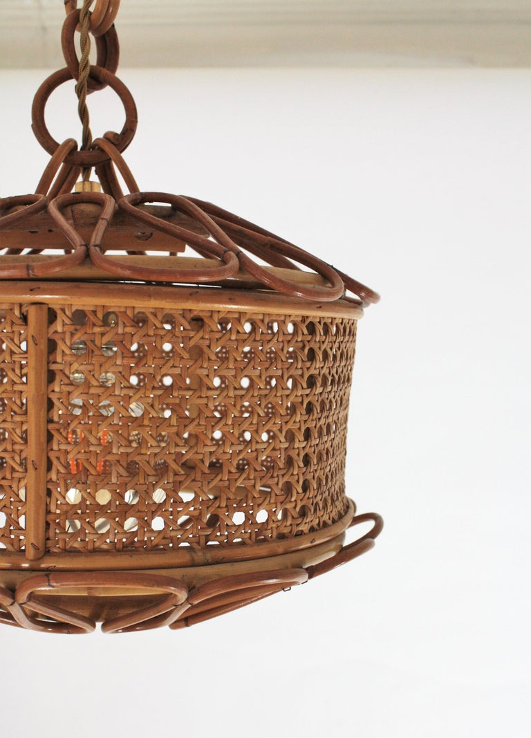 Italian Modernist Wicker Wire and Rattan Pendant Hanging Light, 1950s For Sale 9