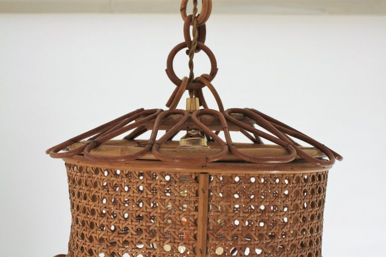 Italian Modernist Wicker Wire and Rattan Pendant Hanging Light, 1950s For Sale 10