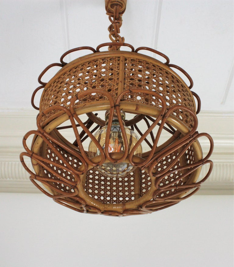 Italian Modernist Wicker Wire and Rattan Pendant Hanging Light, 1950s For Sale 12