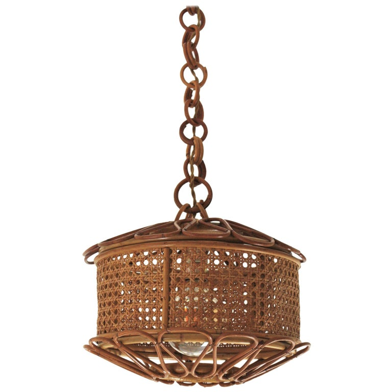 Italian Modernist Wicker Wire and Rattan Pendant Hanging Light, 1950s For Sale