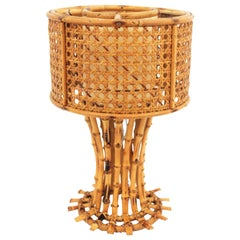 Italian Modernist Wicker Wire, Rattan and Bamboo Table Lamp