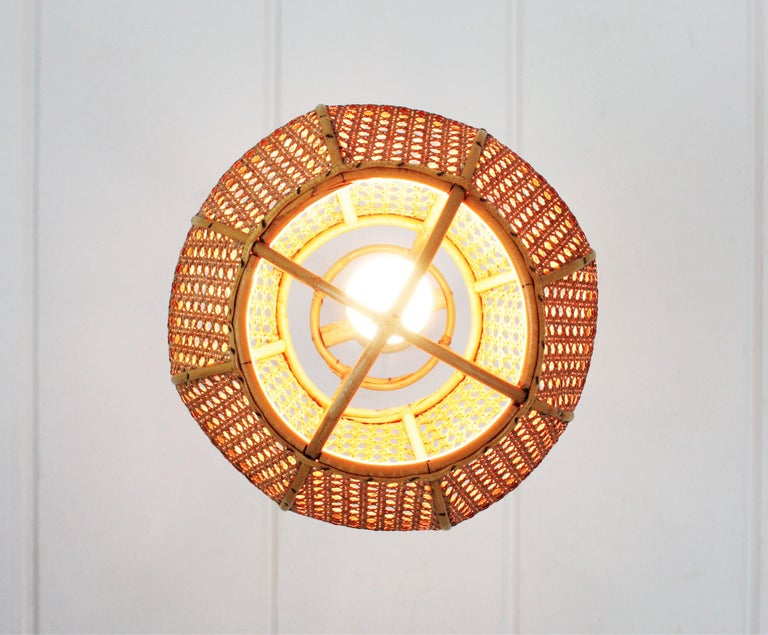 Italian Modernist Wicker Wire and Rattan Globe Pendant / Hanging Light, 1950s For Sale 8