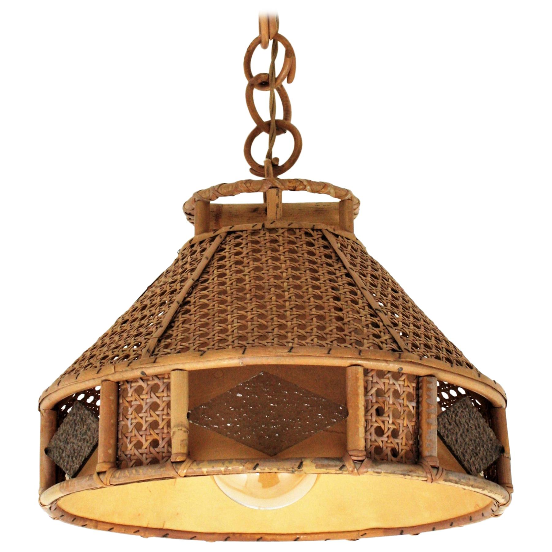 Italian Modernist Wicker Wire & Rattan Pendant Hanging Light with Glass Accents