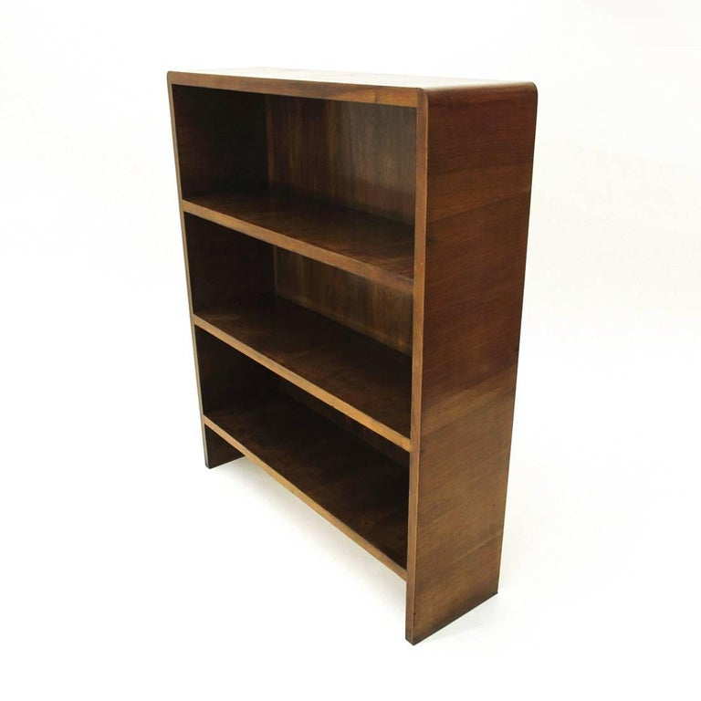 Mid-20th Century Italian Modernist Wooden Bookcase, 1940s For Sale