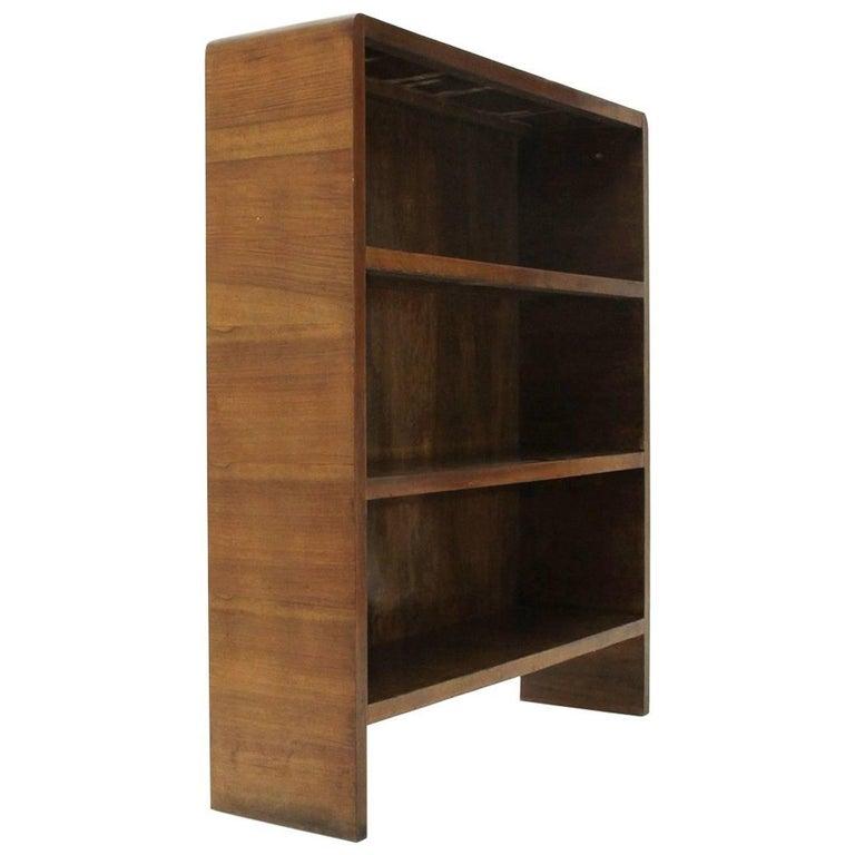Italian Modernist Wooden Bookcase, 1940s For Sale