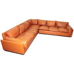 Italian Modular Cognac Leather Sofa, 1970s