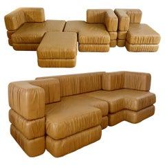 Italian Modular Cognac Leather Sofa