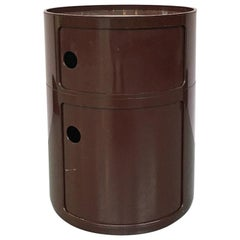 Italian Modular Dark Brown Plastic Container by Anna Castelli for Kartell, 1970s