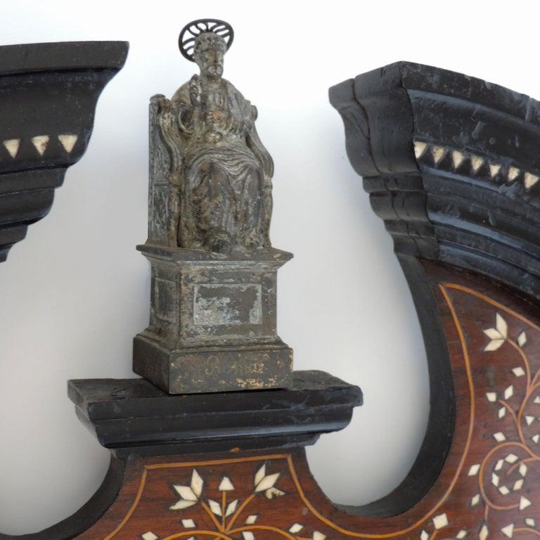 Italian Moorish Bone Inlay Frame with Saint, circa 1900 In Good Condition For Sale In Milan, IT
