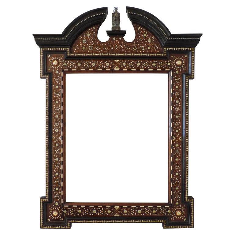 Italian Moorish Bone Inlay Frame with Saint, circa 1900 For Sale