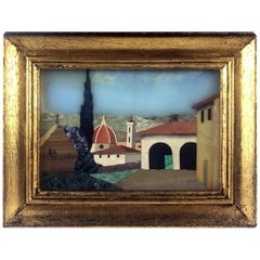 Italian Mosaic Pietra Dura Picture of Florence View with Cathedral