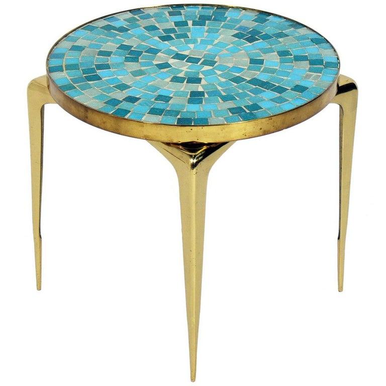 1950s Italian Mid Century Modern Brass And Mosaic Tile Top: Italian Mosaic Tile And Brass Table For Sale At 1stdibs