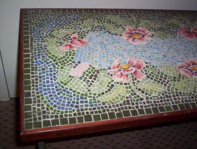 Metal Italian Mosaic Top Table, circa 1920s For Sale
