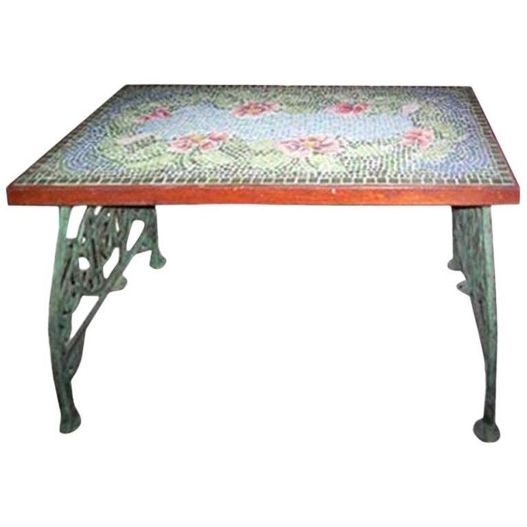 Italian Mosaic Top Table, circa 1920s For Sale