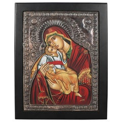 Italian Mother Mary & Christ Child Signed Icon after Padre Pefkis, 20th Century
