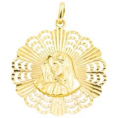 Italian Madonna Virgin Mary Yellow Gold Religious Medallion Pendant Charm