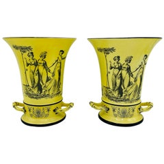 Italian Mottahedeh Yellow and Black Toile Handled Urn Vases, Pair, 1960s