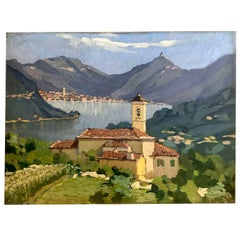 Italian Mountain Painting Como Lake View by Daniele Fontana 1927