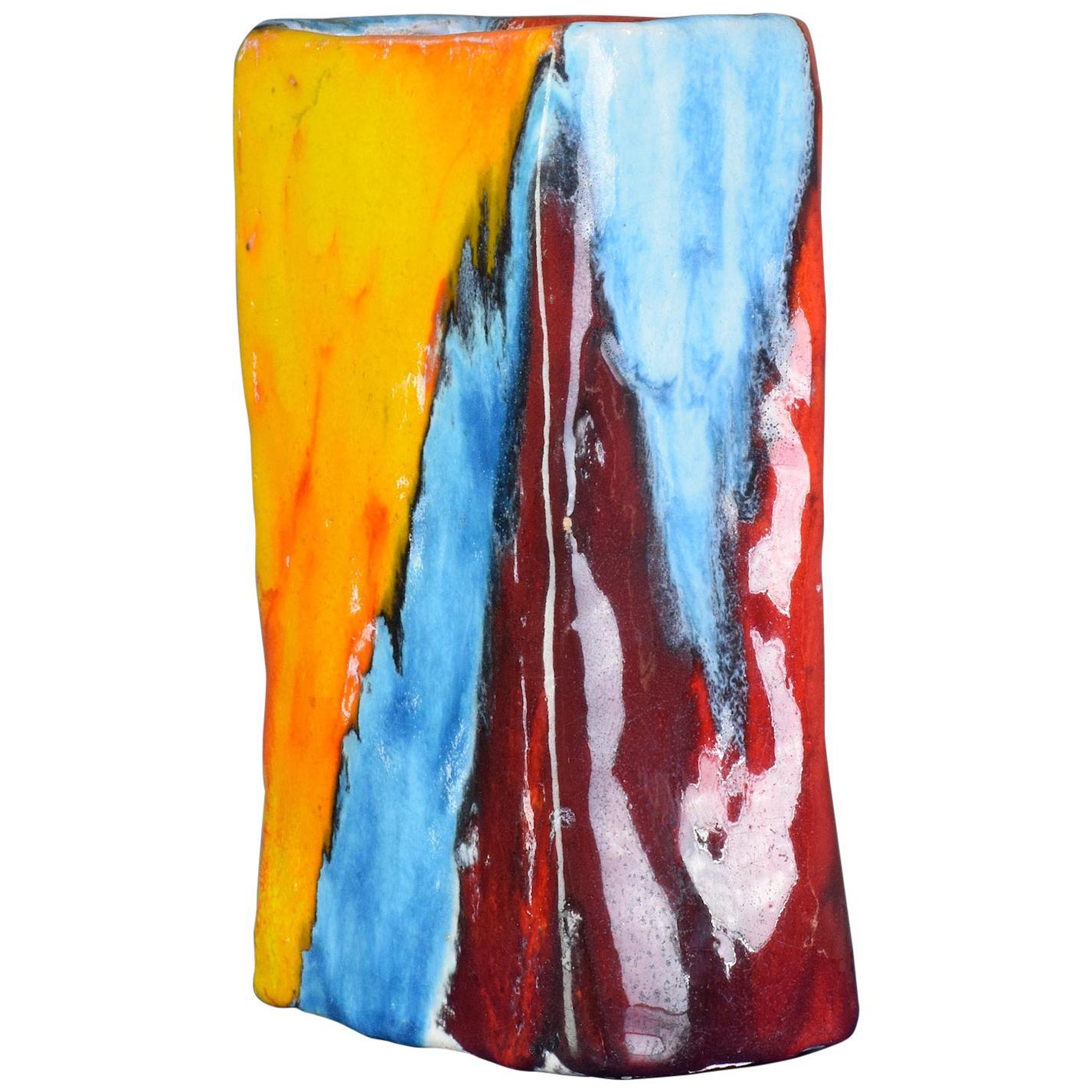 Italian Multi-Color Vintage Ceramic Vase, 1970s