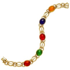 Italian Multi-Gem 18 Karat Yellow Gold Bracelet
