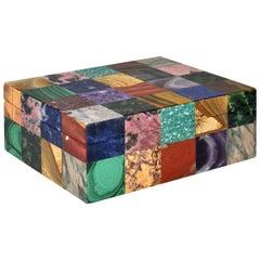 Mid 20th Century Italian Mosaic Mineral Specimen Box with Onyx Interior