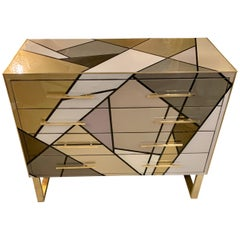 Italian Multicolored Opaline Glass Chest of Drawers with Geometric Design, 1980s