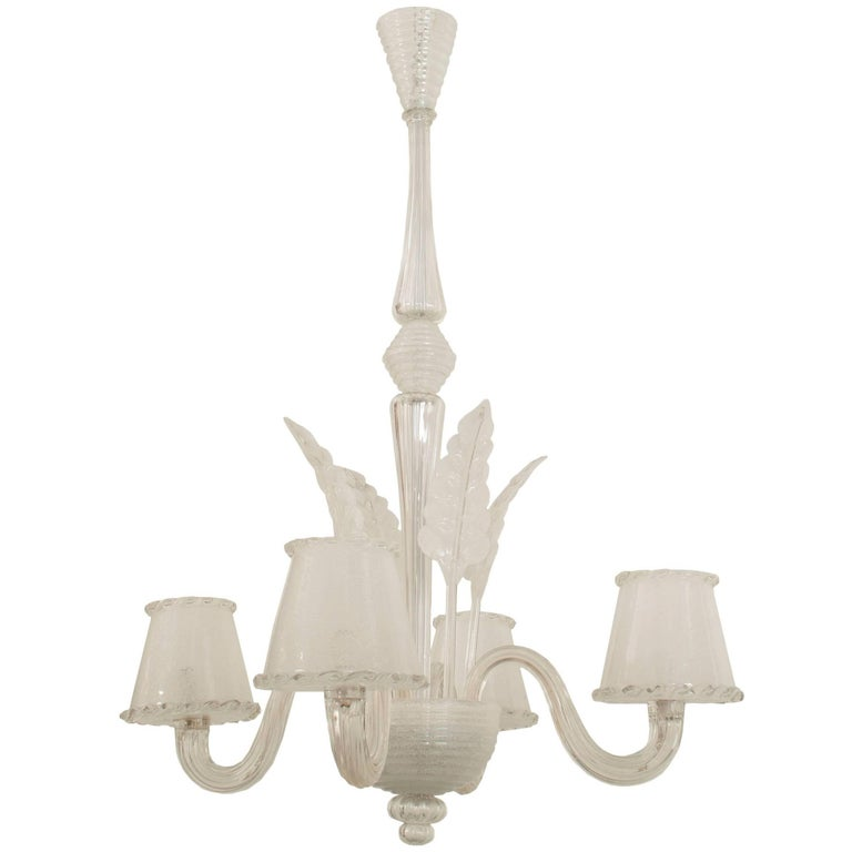Italian Murano 1940s Chandelier with Four Feathers and Scroll Arms