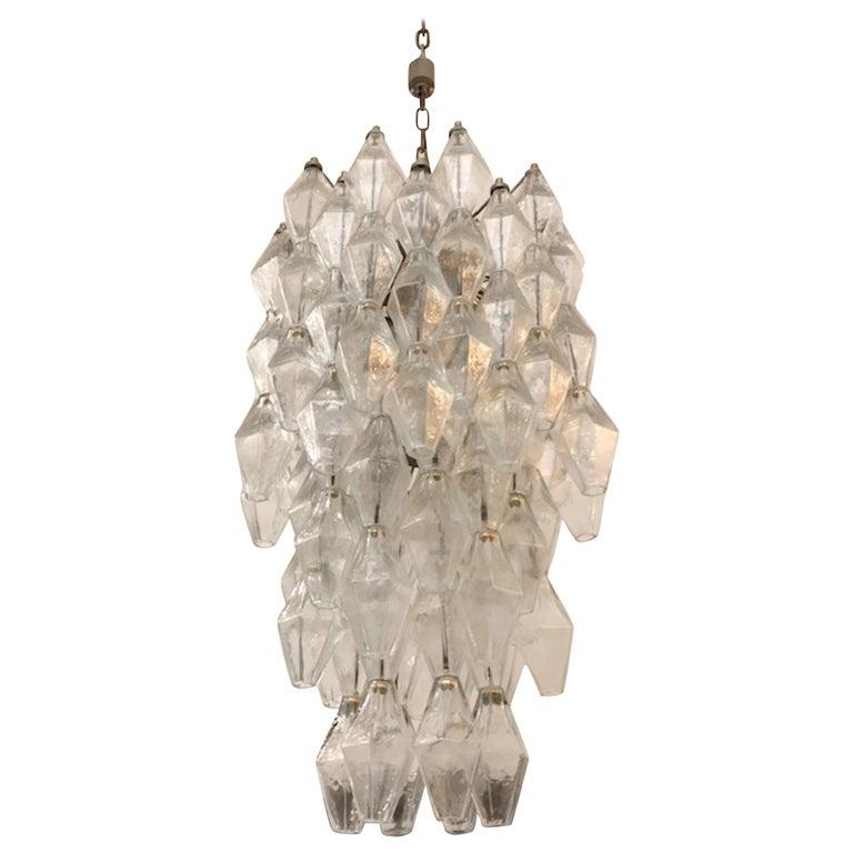 Italian Murano 1950s Poliedri Glass Chandelier For Sale