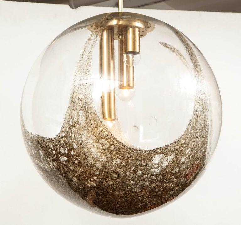 Italian Murano 1960s Blown Glass Globe Chandelier For Sale 7