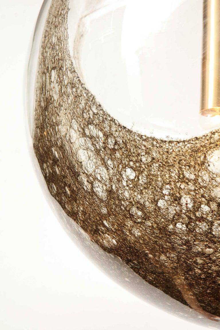 Brass Italian Murano 1960s Blown Glass Globe Chandelier For Sale