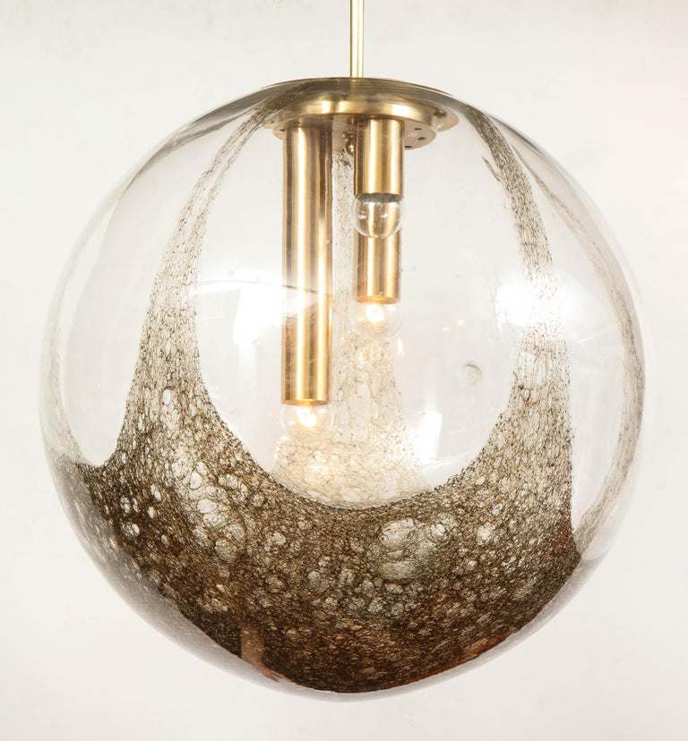 Italian Murano 1960s Blown Glass Globe Chandelier For Sale 3