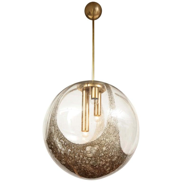 Italian Murano 1960s Blown Glass Globe Chandelier For Sale