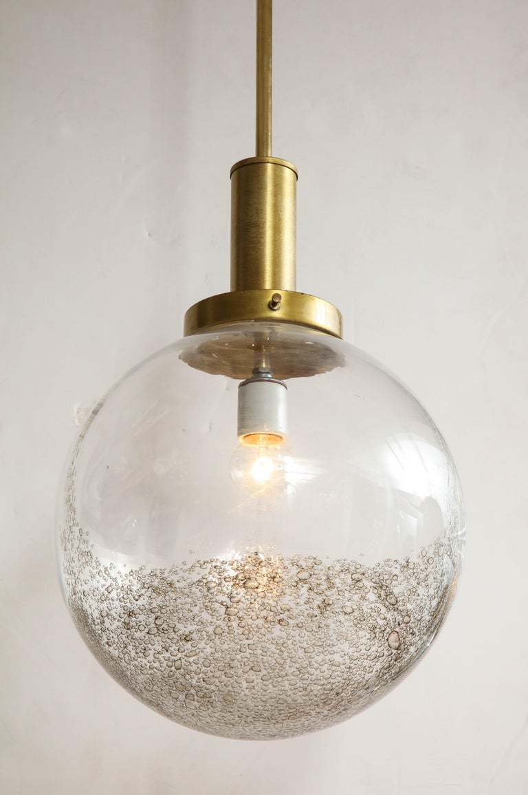 Brass Italian Murano 1960s Glass Globe Chandelier For Sale