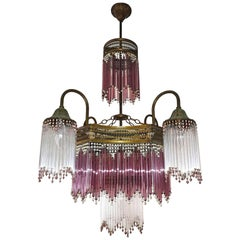 Italian Murano Art Deco Art Nouveau Pink Beaded Crystal Fringe Gilt Chandelier