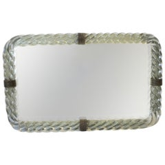 Italian Murano Art Glass and Mirror Vanity Tray