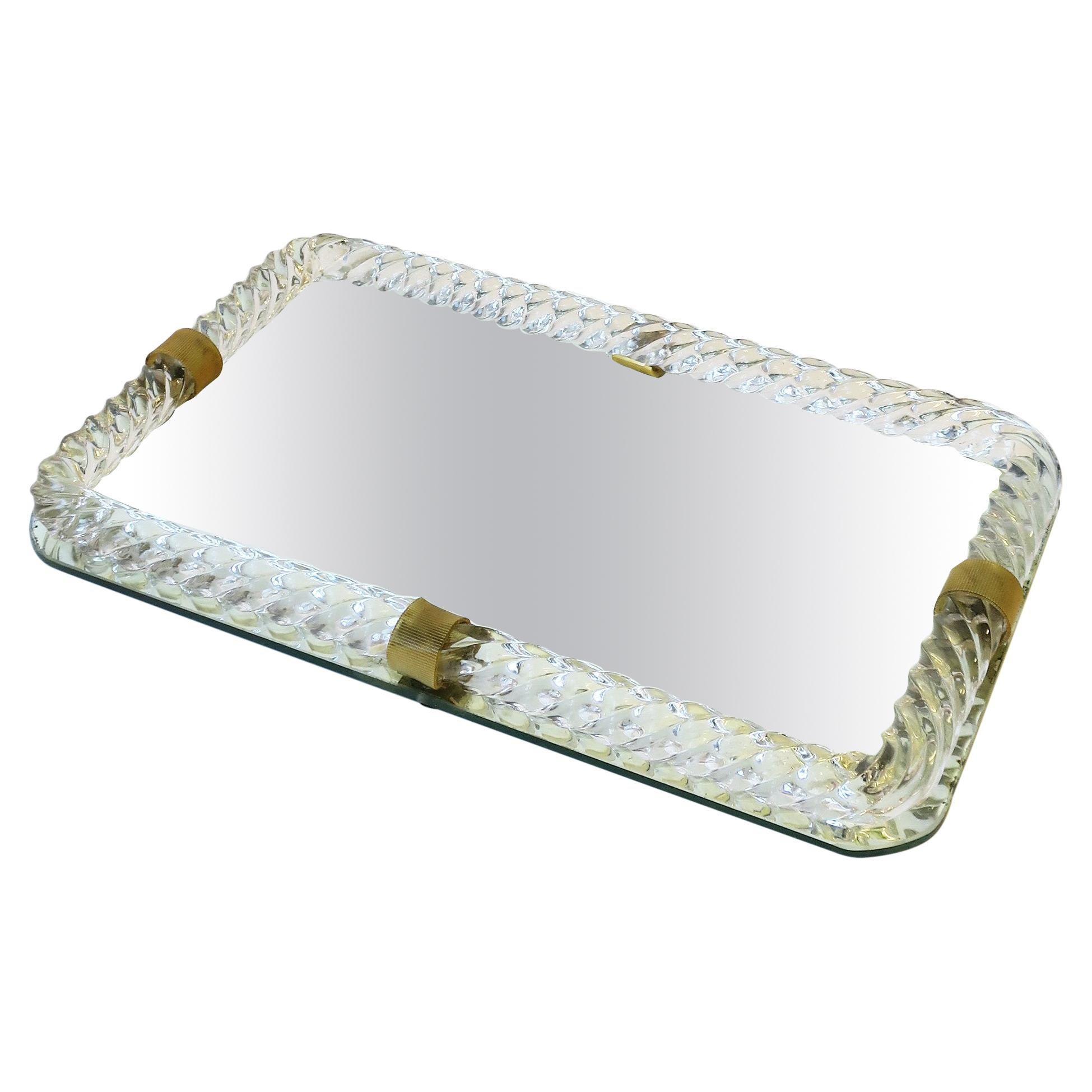 Italian Murano Art Glass and Mirror Vanity Tray in the Style of Venini