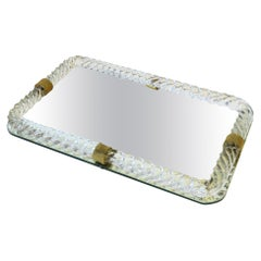 Italian Murano Art Glass and Mirror Vanity Tray in the Style of Venini