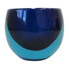 Italian Murano Blue Art Glass Ashtray