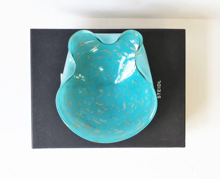 Modern Italian Murano Art Glass Bowl in Turquoise Blue For Sale