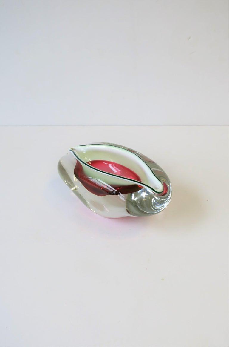 Italian Murano White and Pink Art Glass Bowl or Ashtray 3