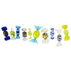 Italian Murano Art Glass Candy Pieces in Blue White Yellow