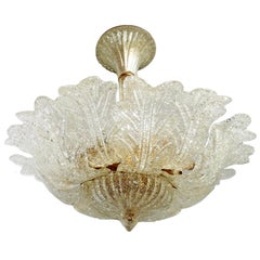 Murano Art Glass Flower Leaves & Brass Chandelier Attributed to Barovier & Toso
